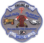 Philadelphia Fire Department Unit Patch Engine 49 A Maltese Cross